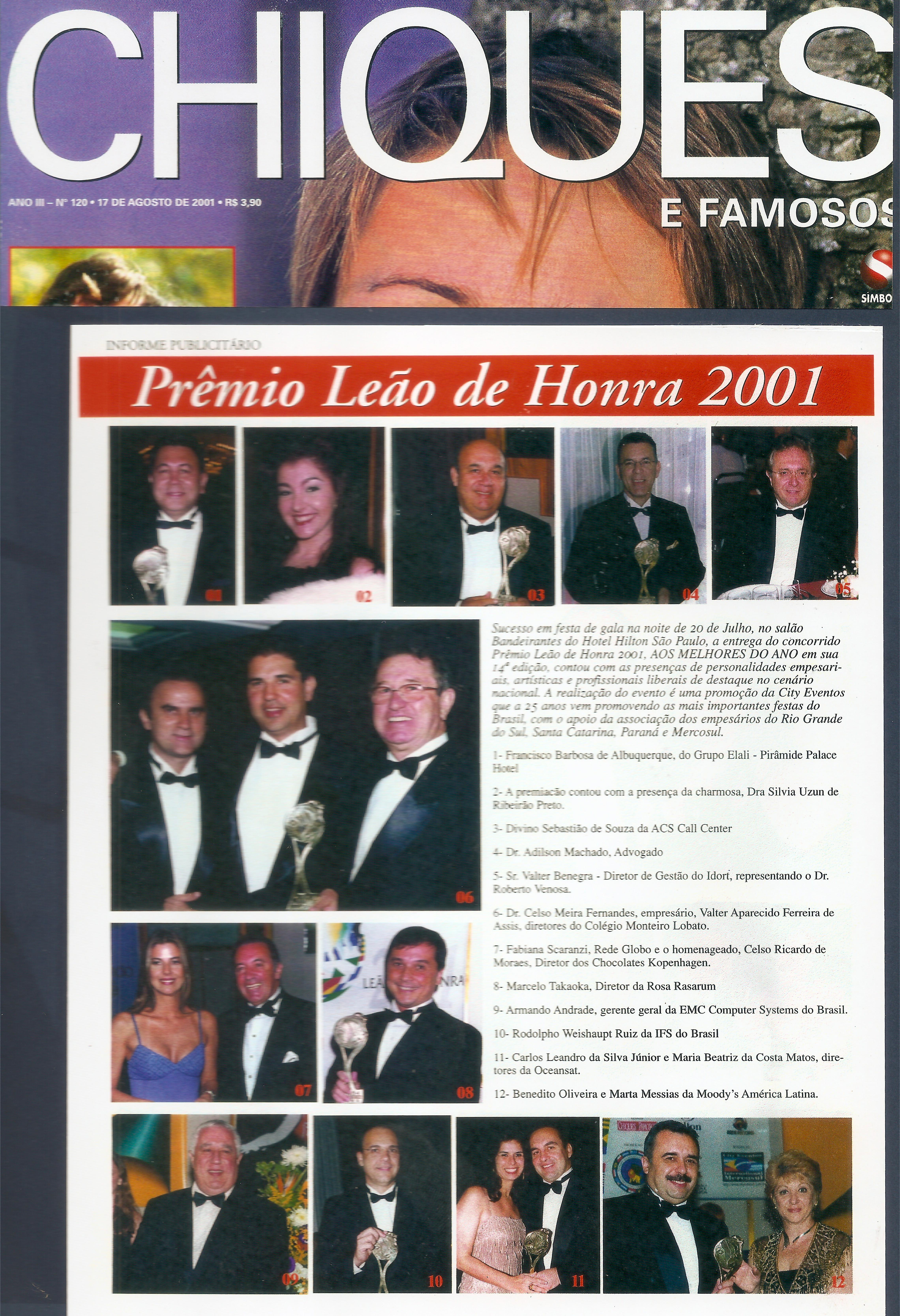 Os melhores do ano - Troféu Leão de Honra 2001