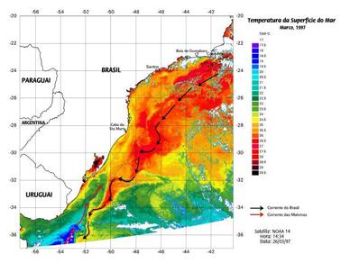 Imagem de campo de temperatura da superfície do mar da Bacia de Campos