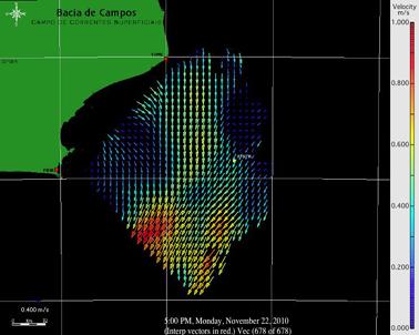 Imagem do campo de corrente superficial da Bacia de Campos obtida pelo sistema SeaSonde®